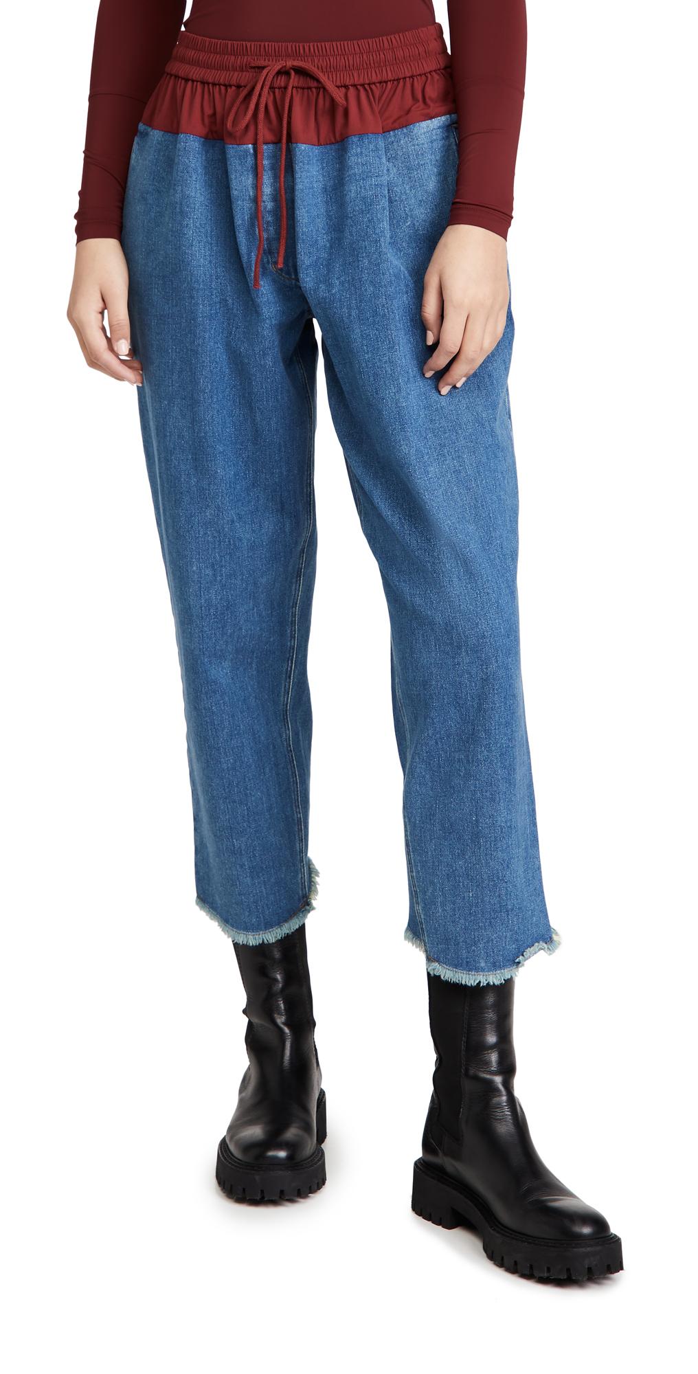 pushBUTTON Contrast Waist Denim Pants