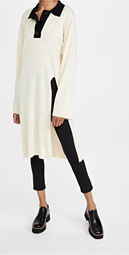 pushBUTTON - Collar Knit Slit Dress