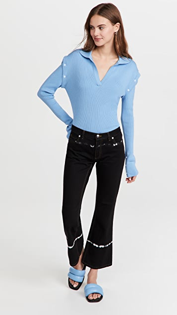 pushBUTTON Blue Detachable Sleeves Knit Top