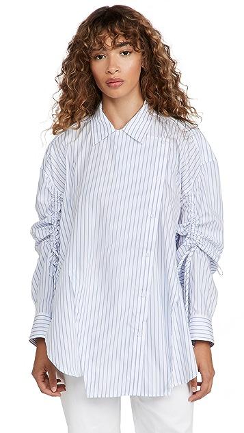 pushBUTTON Striped Shirring Sleeved Shirt