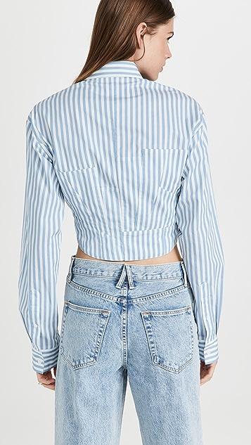 pushBUTTON Stripe Cinched Waist Shirt