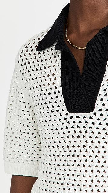 pushBUTTON White Punching Knit Top