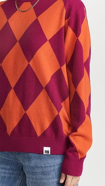 pushBUTTON Violet Argyle Knit Sweater