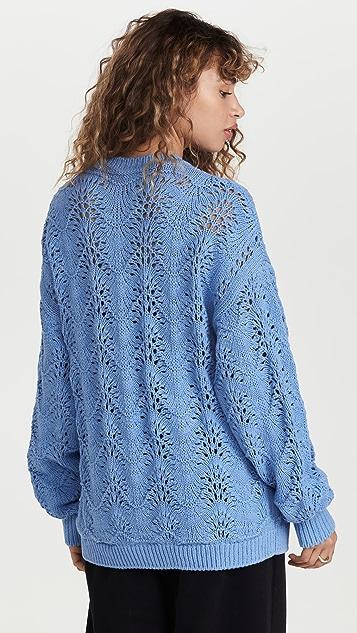 pushBUTTON 蓝色绒球锦缎针织毛衣