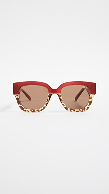 Quay Don t Stop Sunglasses - Cherry & Tort/Brown
