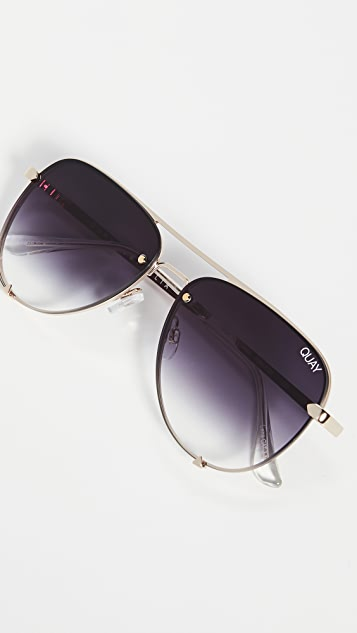 Quay High Key Mini Rimless Sunglasses