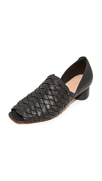 Rachel Comey Woven Peep-Toe Mules discount cheap price on hot sale XGCEa2Sy