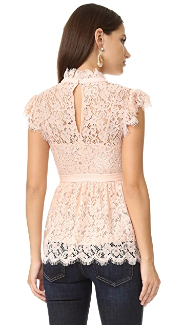 Rachel Zoe High Neck Paneled Lace Blouse