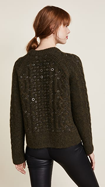 Rag & Bone Jemima Crew Neck Embroidered Sweater
