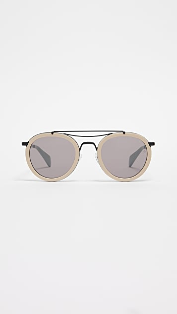 Rag & Bone Round Leather Aviator Sunglasses