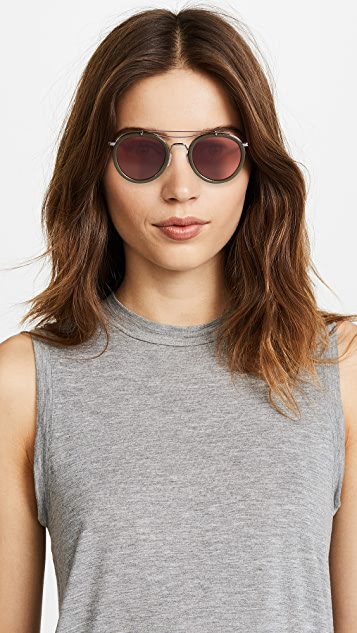 Rag & Bone Round Leather Aviator Sunglasses