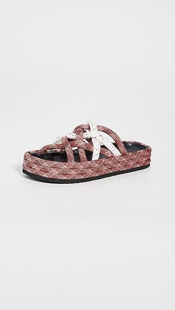 Rag & Bone Kris 编织底凉拖鞋