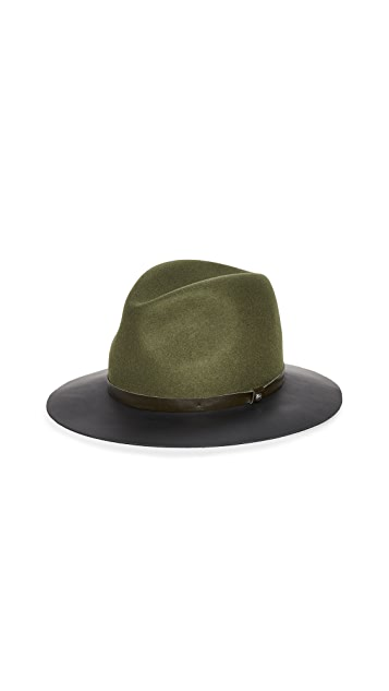 Rag & Bone Floppy Leather Brim Hat
