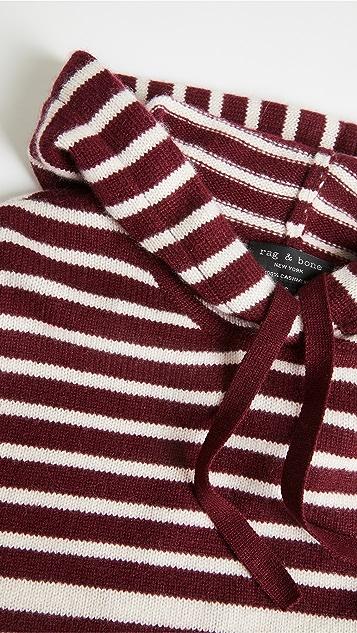 Rag & Bone Pierce 开司米羊绒条纹连帽上衣