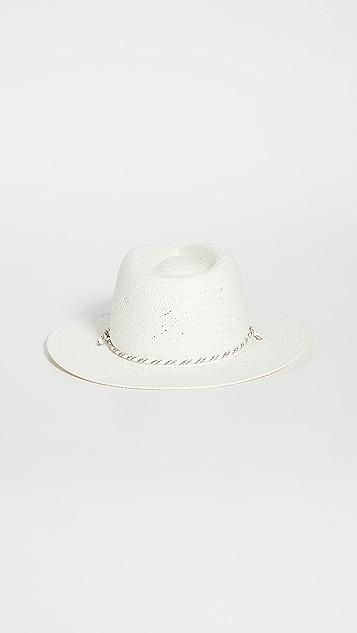 Rag & Bone 象牙白可折叠草编费朵拉帽