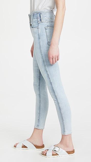 Rag & Bone 捏褶脚踝紧身牛仔裤