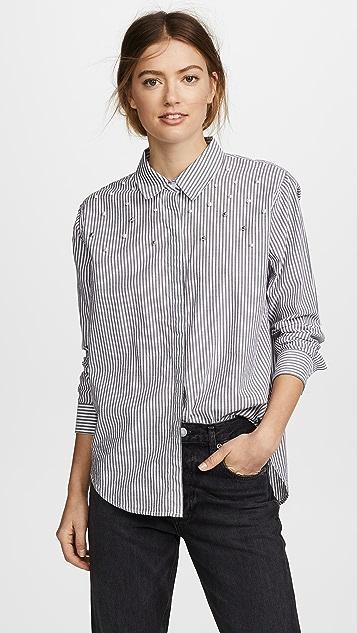 RAILS Taylor Shirt - Florence Stripe/Studded Pearls