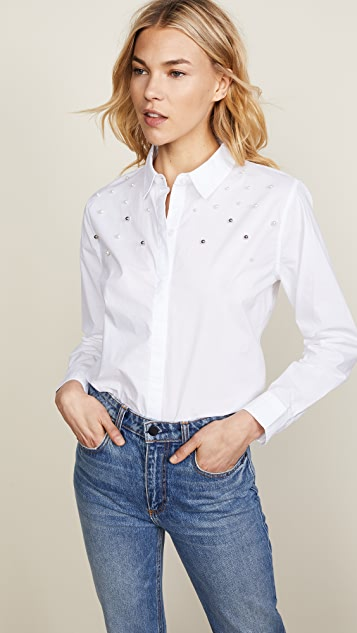 RAILS Taylor Button Down - White with Pearls
