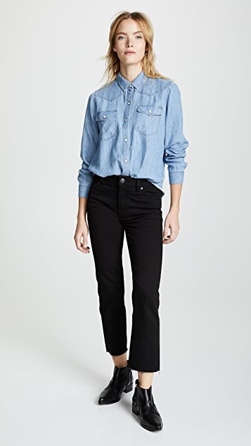 RAILS Рубашка из необработанной ткани шамбре Renee