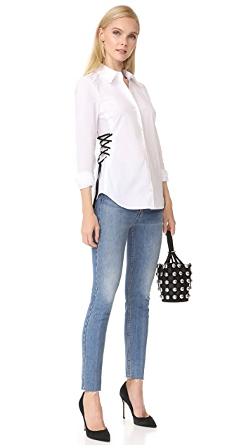 Ramy Brook Lila Lace Up Button Down Shirt