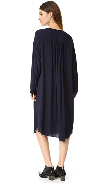 Raquel Allegra Long Sleeve Shirred Dress