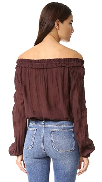 Raquel Allegra Shirred Collar Blouse