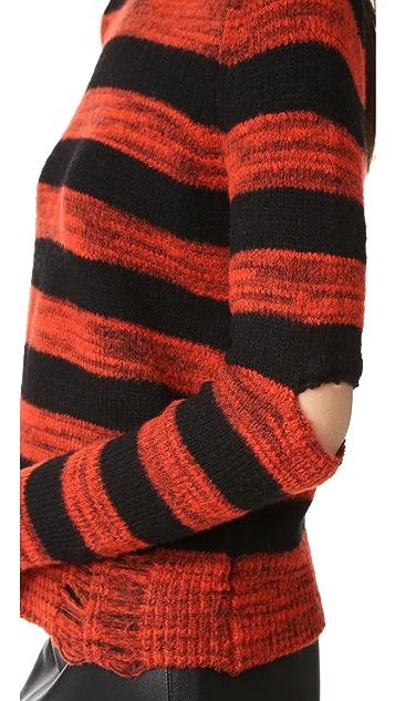 Raquel Allegra Slit Elbow Crew Sweater