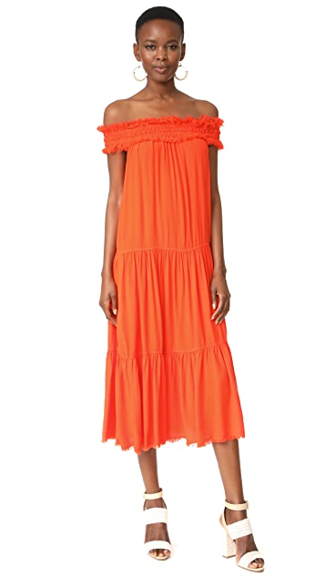 Raquel Allegra Off the Shoulder Shirred Dress
