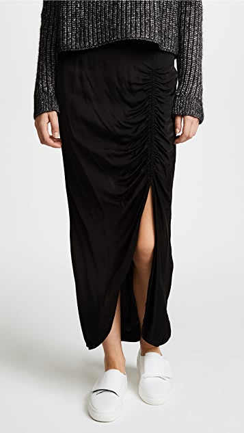 Raquel Allegra Gathered Slit Skirt