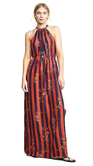 Raquel Allegra Платье в полоску с цветочным рисунком