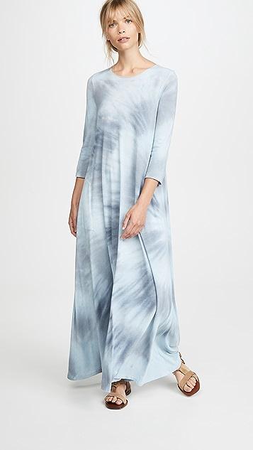Raquel Allegra Макси-платье Drama с рукавами три четверти