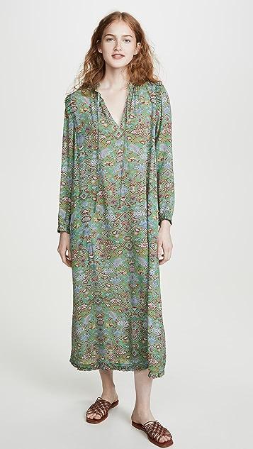 Raquel Allegra Tapestry Silk Ruffle Dress