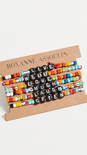 Roxanne Assoulin Браслеты Camp с надписью «Live Well Love Much Laugh Often»