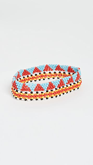 Roxanne Assoulin Patchwork Set of Two Anklets