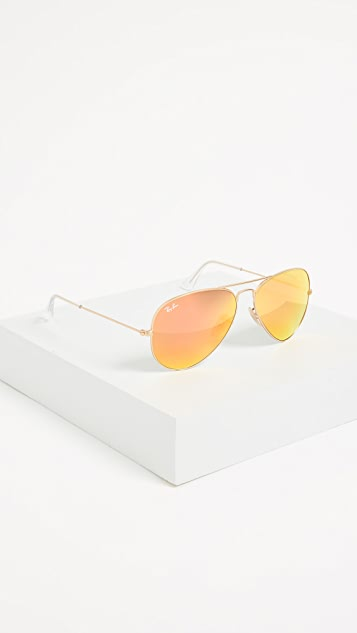Ray-Ban RB3025 Classic Aviator Mirrored Matte Sunglasses