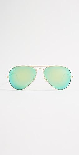 Ray-Ban - RB3025 Classic Aviator Mirrored Matte Sunglasses