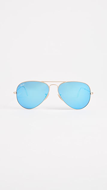 Ray-Ban Mirrored Matte Classic Aviator Sunglasses