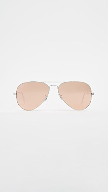 Ray-Ban Flash Lens Matte Aviator Sunglasses