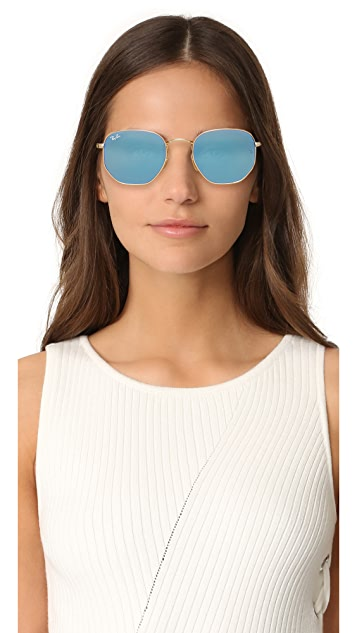 2440e36318 ... Ray-Ban RB3548N Hexagonal Mirrored Sunglasses ...