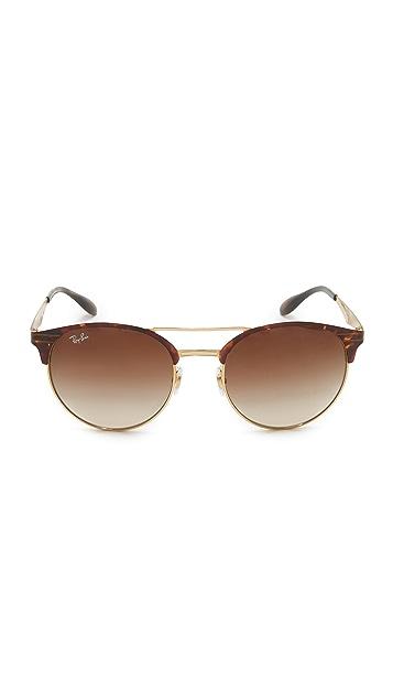 Ray-Ban Etched Retro Round Aviator Sunglasses