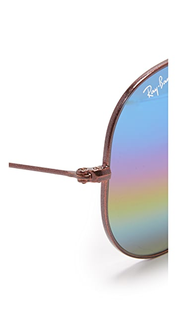 Ray-Ban Зеркальные радужные солнцезащитные очки «авиаторы» RB3025