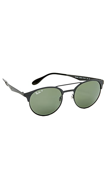 Ray-Ban Double Bridge Round Polarized Sunglasses