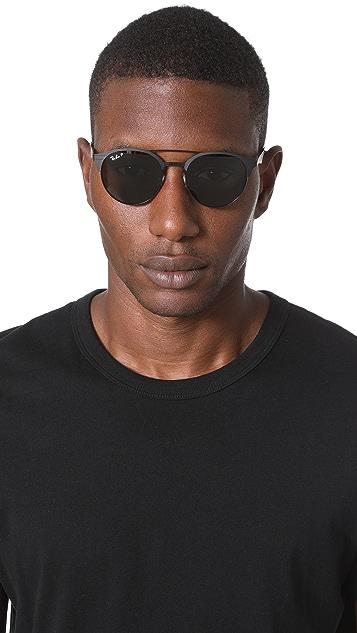 Ray-Ban Double Bridge Round Polarized Sunglasses