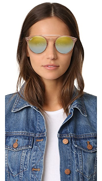 Ray-Ban Round Browbar Mirrored Sunglasses