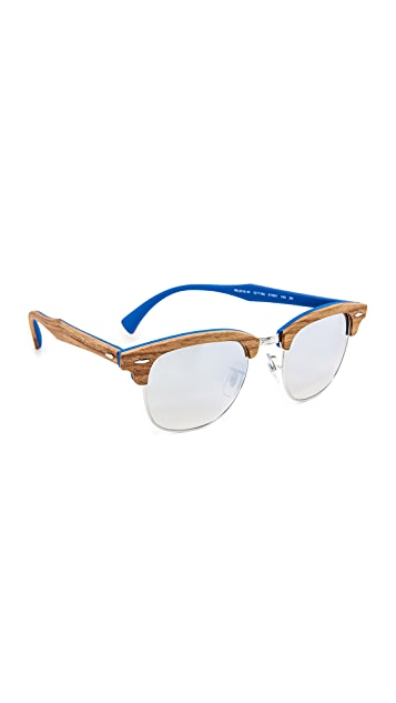Ray-Ban Wood Clubmaster Flash Sunglasses