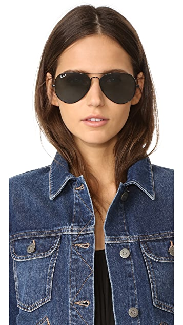 Ray-Ban Oversized Polarized Aviator Sunglasses