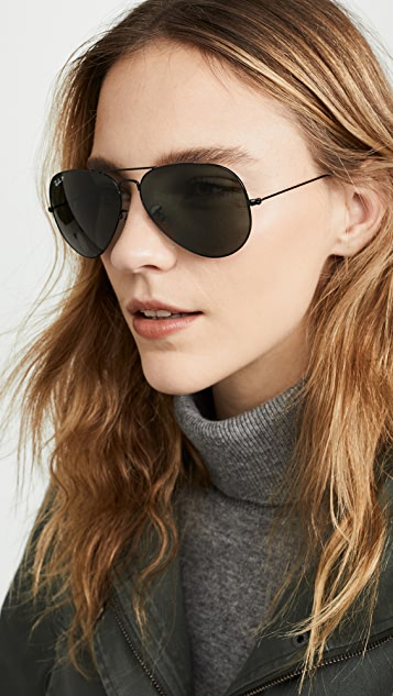 ray ban 62mm aviator polarized glasses