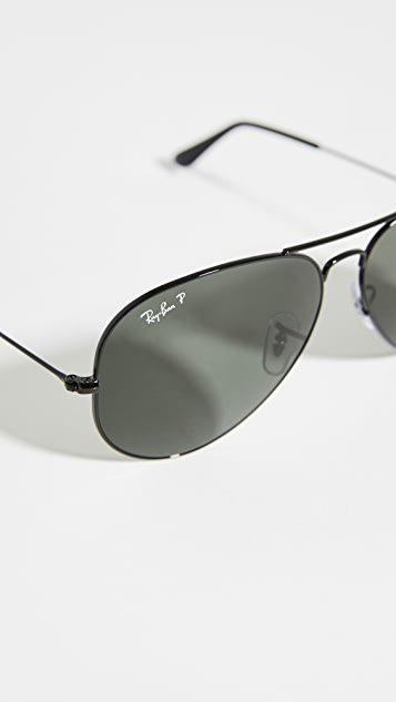 Ray-Ban RB3025 Oversized Classic Aviator Polarized Sunglasses