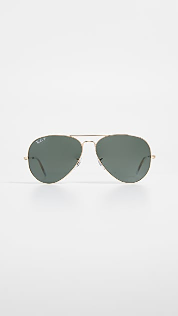 Ray-Ban RB3025 Oversized Classic Aviator Polarized Sunglasses
