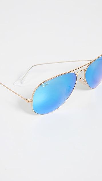 Ray-Ban RB3025 Крупные классические солнцезащитные очки-авиаторы с зеркальными линзами